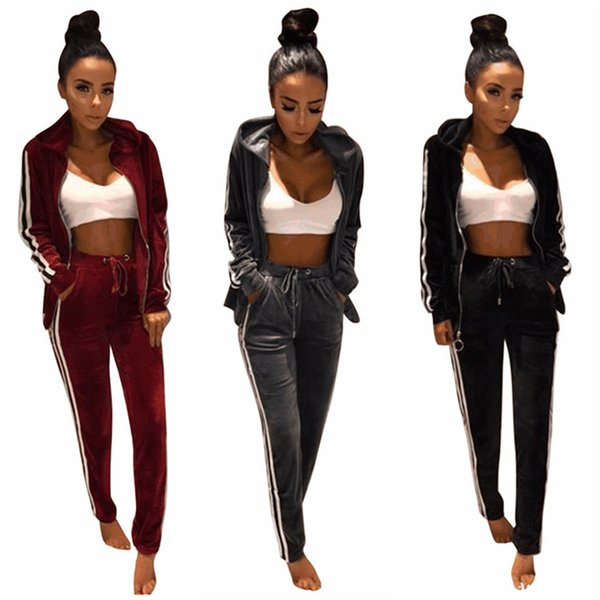 Autumn and winter hooded gold velvet female long-sleeved pajamas sports home service suit spring and autumn casual fashion suit NB-092