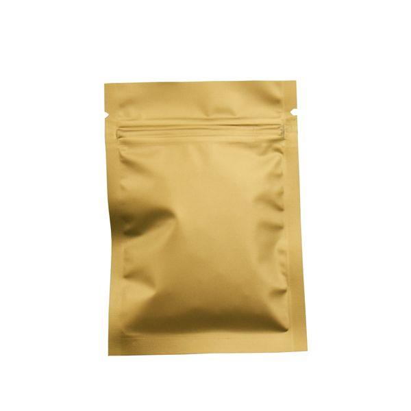 7*10cm 200Pcs/Lot Gold Matte Grip Seal Ziplock Mylar Heat Sealing Dried Food Storage Aluminum Foil Zipper Packing Bag Wrapping Bag