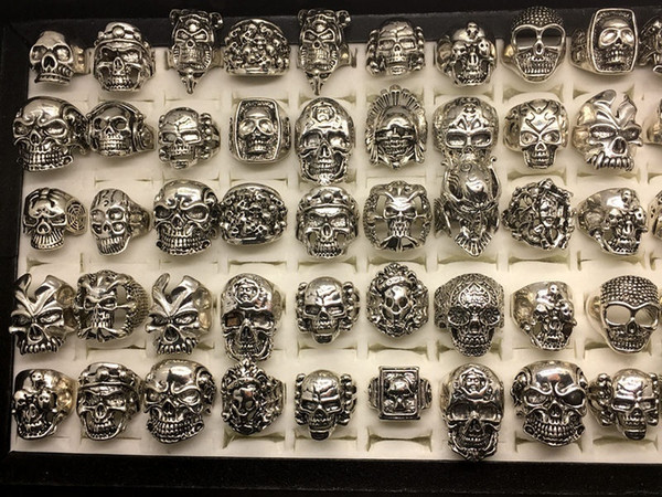 New Skull Rings 30pcs/lot Gothic steampunk Style Silver Plated hiphop Jewelry for Men Size(17cm To 22cm) Man Fashion Gifts