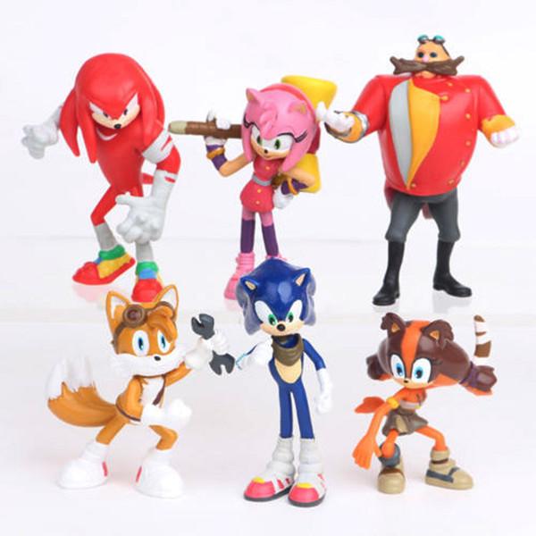 6pcs SEGA Sonic the azione Amy Tails Knuckles Dr. Eggman Doll PVC Figure Figurine Gioca bambini regalo Hedgehog Sonic Boom Set Toy Cake Topper