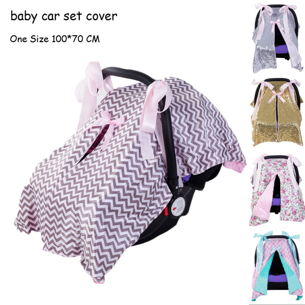 best selling New Baby Car Set Cover Toddler Stroller Accessories Cover Boy Girl Shade Bow Blanket Canopy Set Fit Infant Car Seat