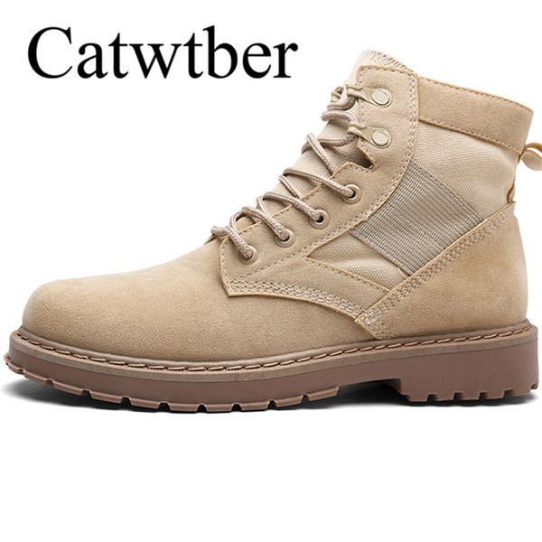 Catwtber Stivaletti da uomo Chukka Stivaletti imbottiti in cotone Winter Leather Caldi Stivaletti da lavoro all'aperto Safety Lace-Up High-top Footwear