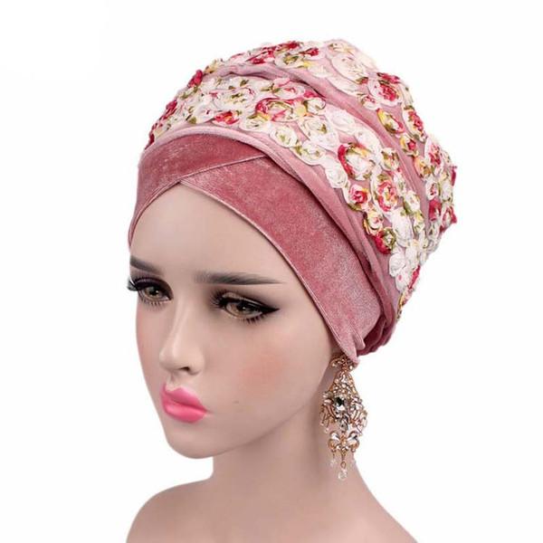 super specials new styles great deals Acheter Nouveau Mode Femmes 3D Rose Fleur Nigérian Velours Turban Extra  Longue Tête Wrap Lady Foulard Femme Hijab Cap Bandanas Turbante 8 Couleurs  ...