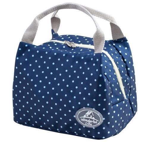 Free Shipping Striped Dot Portable Lunch Bag Thermal Insulated Cold keep Food Safe warm Lunch bags For Girls Women