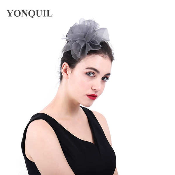 2018 Fascinator Nylon Hairband Hair Clip For Women Heawear Ladies Elegant Wedding Tea Party Feather Fascinator Headband New Arrival SYF399