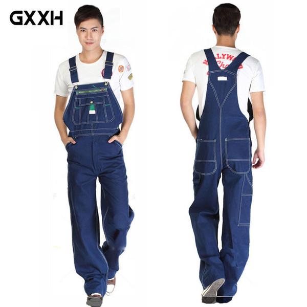 GXXH Hot 2018 Men's Large Size Overalls Large Size Denim Bib Pants Fashion Pocket Jumpsuit Men's Free Shipping Huge Pants 66