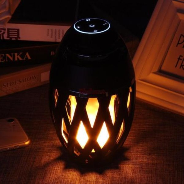 LED Flame Lamp + Wireless Bluetooth Speaker MP3 Player Stereo Sound Waterproof Dancing Party Music Player Atmosphere Light