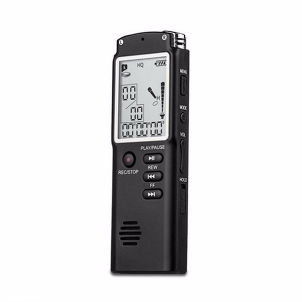 Freeshipping Mini Professional Voice Recording Device Time Display Large Screen Digital Voice Audio Recorder Dictaphone MP3 Player