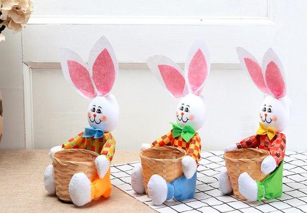 Easter Basket for Kids Bunny Bag for Easter Hunt 100% Ear Stand Up Bunny Handmade Easter Egg Basket for Candies Goodies DIY Gifts