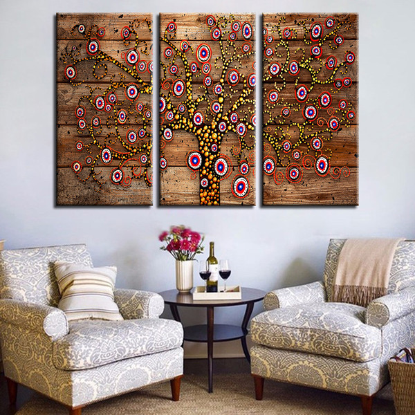 Canvas Abstract Painting Prints 3 Pieces Tree Of Life Poster Gustav Klimt Pictures Home Decor Living Room Background Wall Art