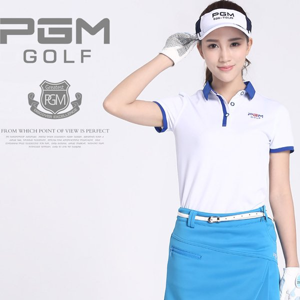 PGM Women golf T-shirt Turn-down Collar sport Jerseys Elastic Thin Breathable short POLO Shirt White Blue Pink Orange S M L xL