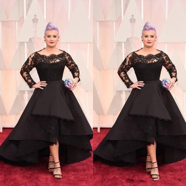 Plus Size Long Formal Evening Dresses Oscar Kelly Osbourne Celebrity Black Lace High Low Red Carpet Dresses Ruffles Prom Party Gowns