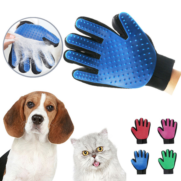 Pet hair glove comb pet dog cat grooming cleaning glove de hedding left right hand hair removal bru h promote blood circulation
