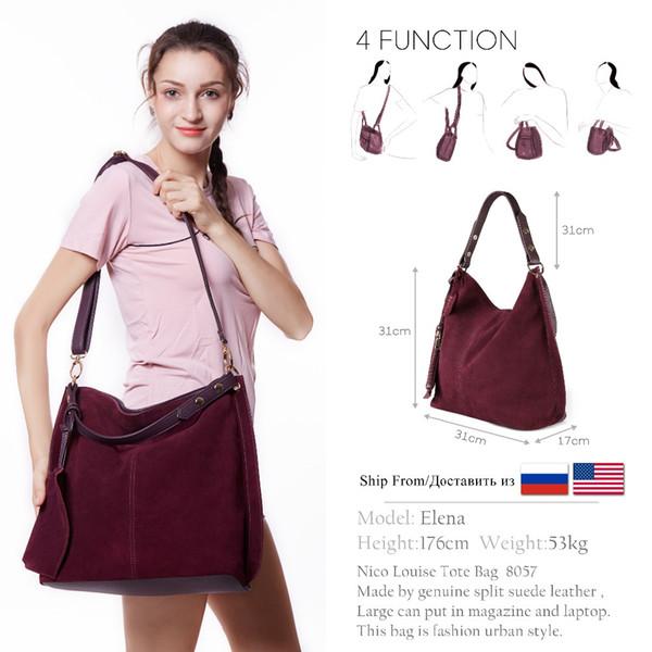 Nico Louise Women Real Split Suede Leather Hobo Bag Design Ocio femenino grandes bolsos de hombro con cartera de viaje casual bolso