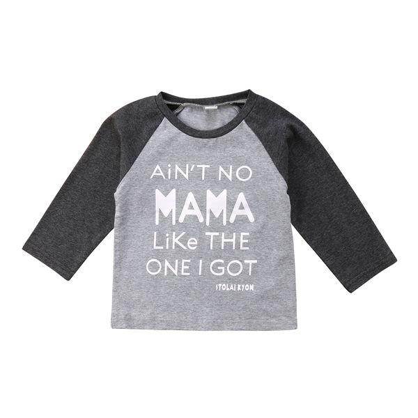 Niños bebés varones camiseta de manga larga Carta Imprimir Gris Negro Tee Tops al por mayor para recién nacido Baby Boy Kids Ropa artículos de moda 6M-5T