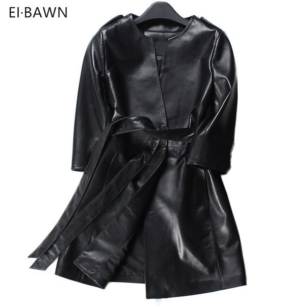 Vintage Kleidung Großhandel Casual Lange Gürtel Elegant Von Frühling Leder Mantel Damen Rot Mode Trenchcoat Schwarz 2018 Für Frauen Echtes vm0Nw8n