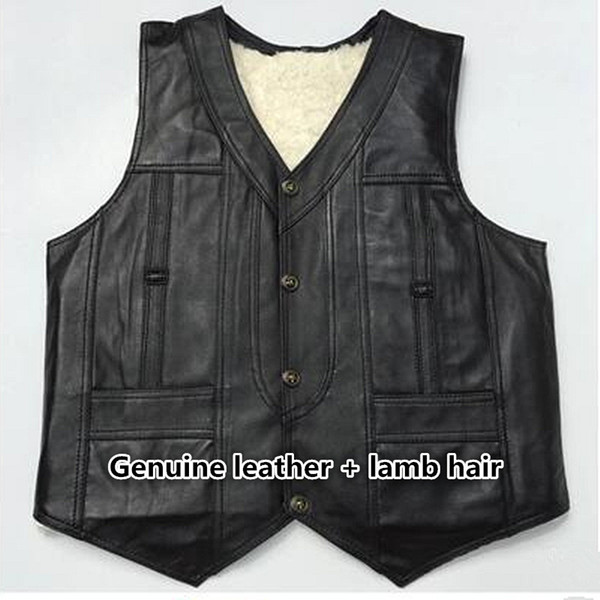 enuine sheep Leather Vest Mens Photography Vest With Many Pockets black Motorcycle And lamb hair Jacket Male Waistcoat