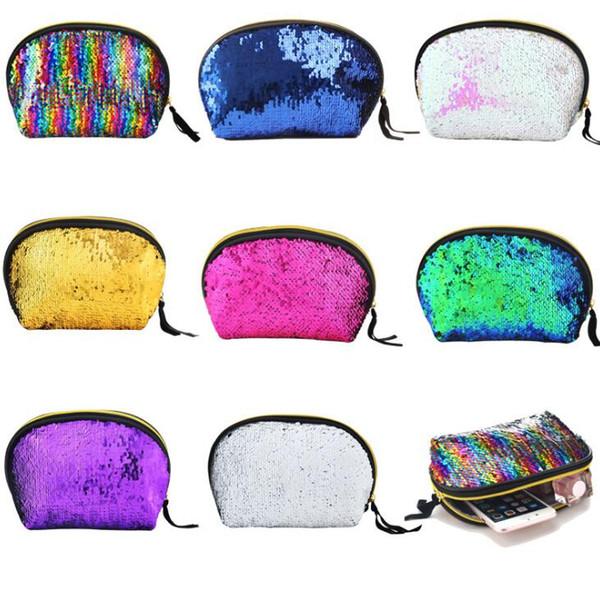 8 Styles Purse Mermaid Sequin Bags Reversible Glitter Hard Shell Fashion Bags For Women Evening Bag Mermaid Makeup Bag GGA392 20PCS