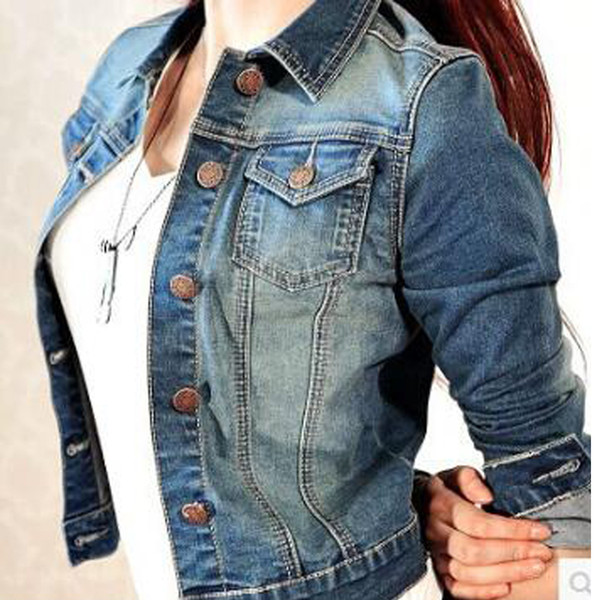 Slim Light Washed Long Sleeve Streetwear Jeans Jacket Short Style Coats Basic Spring Women Washed Short Denim Jacket Outerwear