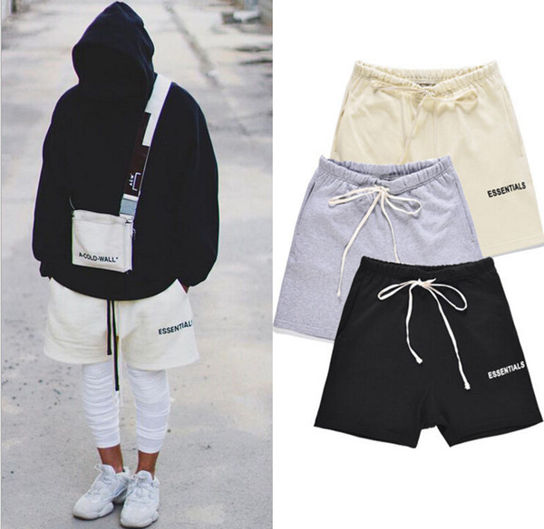 top popular Fear Of God Men Shorts Top Quality 18SS Fog ESSENTIALS Boxy Clothes Fashion Male Short Pants 2019