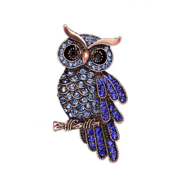 Hot Sale Vintage Owl Brooch Silver Plated Purple Crystal Rhinestone Brooches