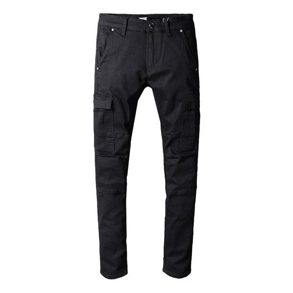 New Style Mens Jeans Distressed Slim Pants Embellished Ribbed Stretch Pants Black Biker Jeans Slim Trousers Men Clothes 2018