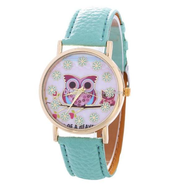 2018 hibou rouge neige fleur cadran femmes regarder mode dames en cuir filles étudiants habillent quartz simple en gros montres