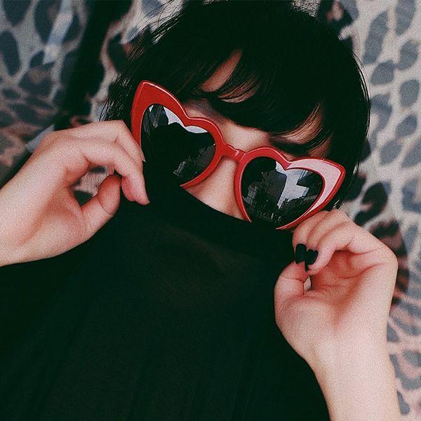 Peekaboo love heart Luxury sunglasses women cat eye vintage Christmas gift black pink red heart shape sunglasses uv 400 free shipping
