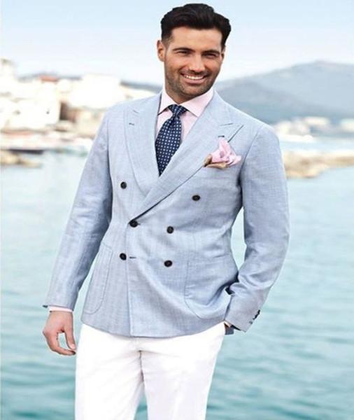 2018 Latest Coat Pant Design Light Blue Linen Men Suit With White Pant Casual Slim Fit Suit Wedding Tuxedo Groom Terno Masculino