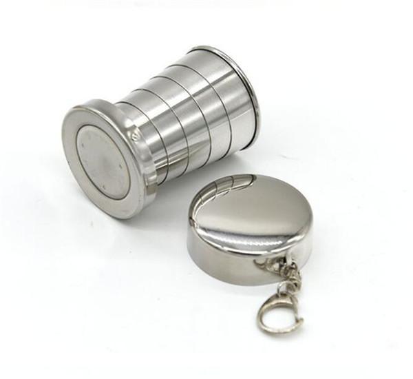 220 pcs Copo Telescópico 75 ml Portátil Dobrável Copo de Vinho de Aço Inoxidável Caneca de Viagem para o Piquenique Ao Ar Livre Chaveiro Cadeia Dobrável G205