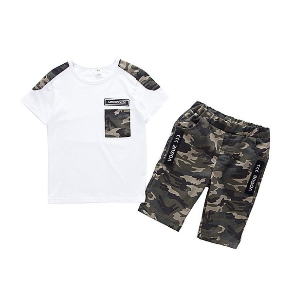 Summer Children Boy Clothes Sets Kids 2pcs Short Sleeves T-Shirt Suits Camouflage Shorts Child Clothing Suits FOR 12 14 16 YEARS Y1893005