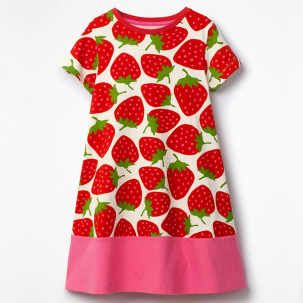 Summer Baby Girl 1-2 Year Cotton Dress Brand Princess Strawberry Printing Baby Dresses Newborn Christening Gowns Girl Clothing