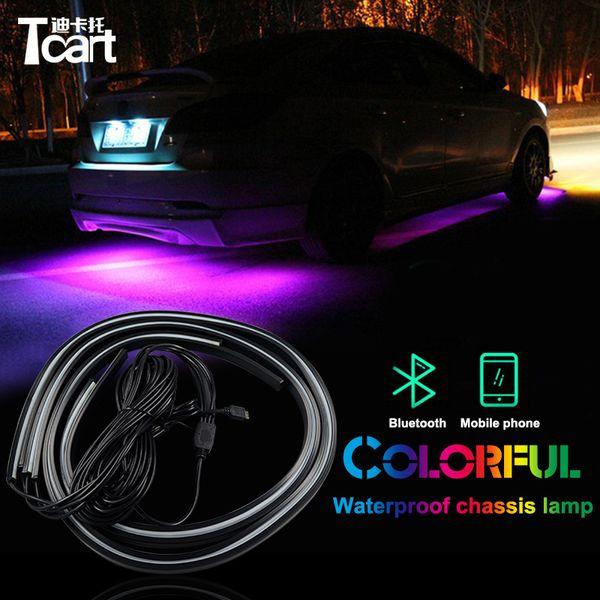 Tcart-APP-Steuerung RGB-LED-Streifen unter Auto-Rohr Underbody Underglow-System-Neonlicht-Fernbedienung für Volkswagen Golf 4 mk4 Zubehör