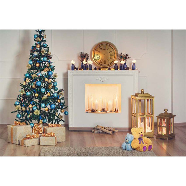 Indoor Xmas Party Background Vinyl Printed Blue Gold Balls Decorated Christmas Tree Presents Toys Bear Baby Kids Photo Backdrops
