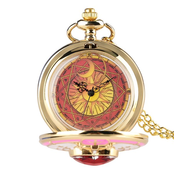 Unique Women Magic Rhinestone SAKURA Quartz Pocket Watch Gold Necklace Pendant Chain Cosplay Gifts for Girls Student Women Kids