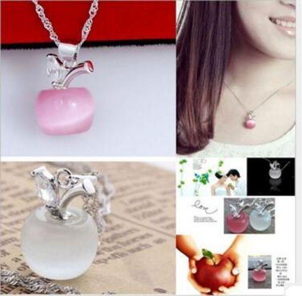 Women Crystal Pendant Necklace Jewelry 925 sterling silver chain Crystal apple opal Pendant necklaces Jewelry Cat's Eye Stone necklace