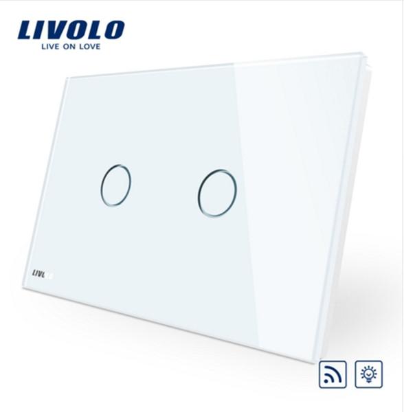 Livolo AU/US StandardSwitch , Ivory White Crystal Glass Panel,VL-C902DR-11,110~250V/50~60Hz Wireless Dimmer Remote Light switch