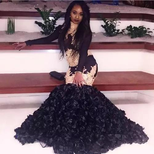 2018 Modest Black Mermaid Prom Dresses Gold Lace Appliqued 3D Handmade Flowers Long Sleeves Black Girls Evening Dress Party Gowns BA8115