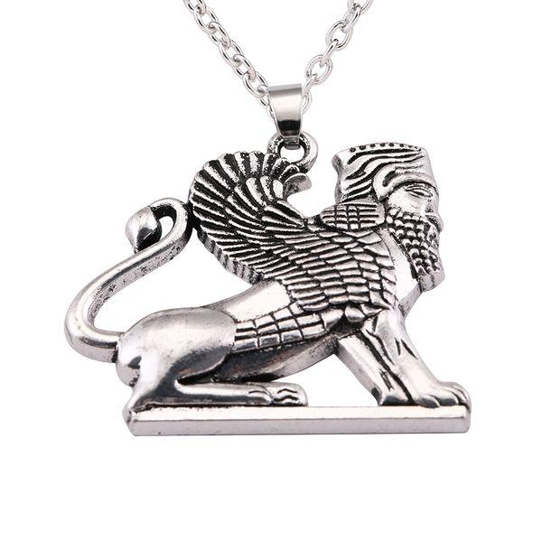 Fishhook Ahura Mazda Culture Pendant Statement Necklace Men Persian Empire Religion Zoroastrianism Necklaces for Women Sphinx