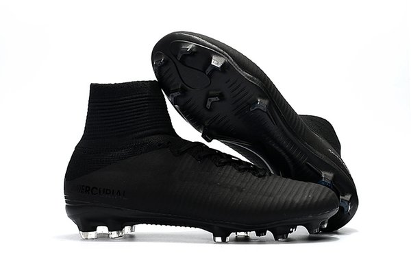 a7c8de40dc33 2018 New Arrival Full Black Soccer Cleats Mercurial Superfly Kids Soccer  Shoes High Ankle Cristiano Ronaldo