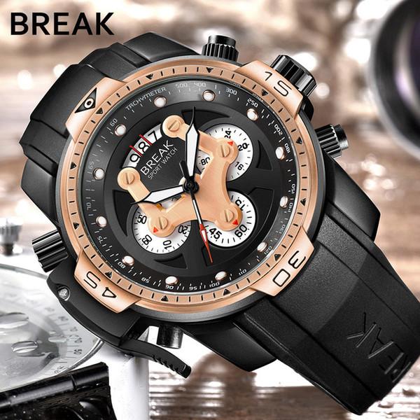 BREAK Herrenuhren Top-Marken-Luxus-Sport-Armbanduhren Herren-Armbanduhren Mann-Mann-männliche Uhr-Quarz-Chronograph-wasserdichte Uhr