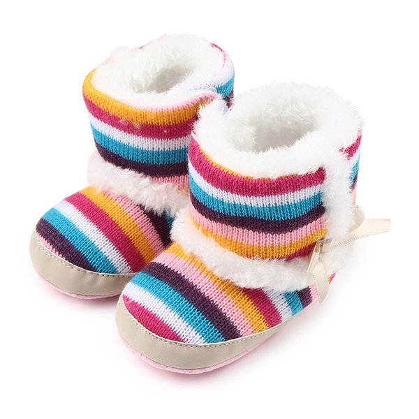 Winter warm money Rainbow Stripes, velvet baby toddlers, foreign trade wholesale shoes, toddler shoes W542