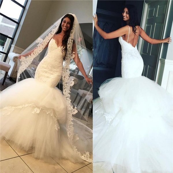 Sexy Mermaid Wedding Dresses 2018 Spaghetti Straps Lace Tulle Backless Wedding Gowns Count Train High Quality Beach Bridal Dress