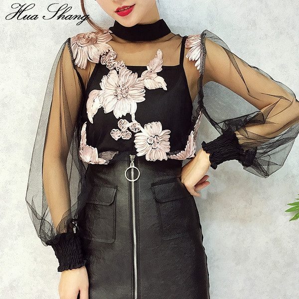 Two Pieces Sexy Blouse 2018 Fashion Women Summer Long Sleeve Flowers Mesh See Through Transparent Blouse With Cami Women Tops