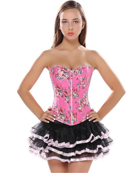 pink Floral SEXY corset Jeans Print Jacquard zipper Lingerie and mini tutu skirt showgirl dance dress body shaper S-2XL