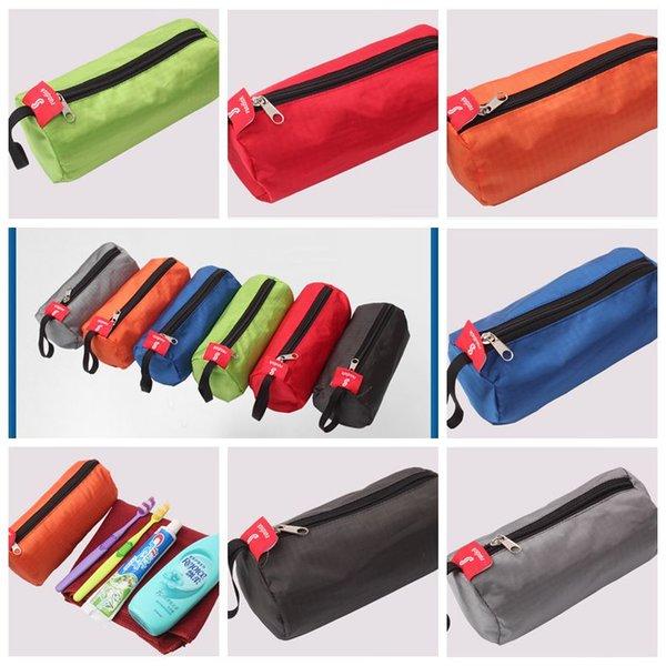Bolsa de almacenamiento de múltiples funciones para la linterna de la toalla de cosméticos Mezcla de color cilíndrica forma de bolsas de lavado Conveniente paquetes al aire libre BBA285