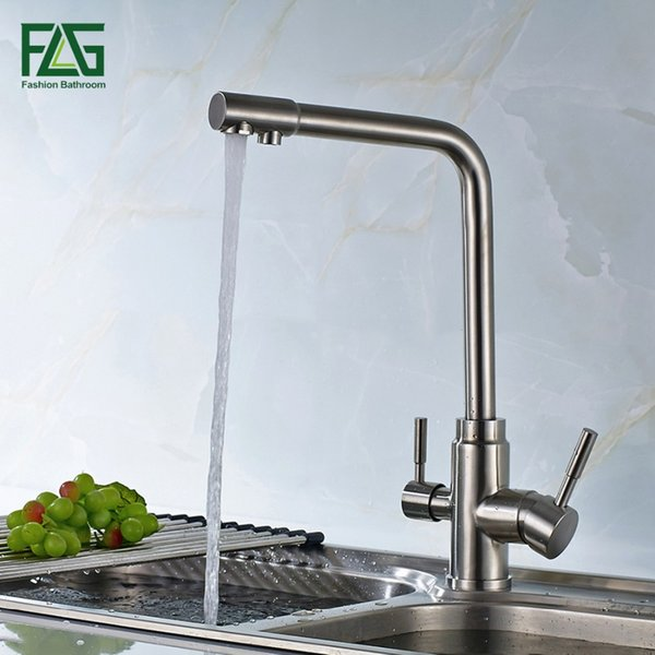 3 Way Tap 304 Edelstahl Trinkwasser Wasserhahn Wasserfilter Luftreiniger Küchenarmaturen Für Waschbecken Mutfak Musluk Taps 175-33 S