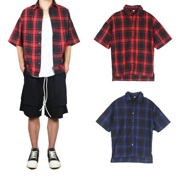 Summer Classic Plaid Mens Short Sleeved Shirts Casual Cotton Mens Shirts Red And Blue