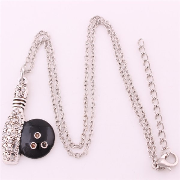 New Design Necklace For Women Men Bowling Ball Shape Sports Style Jewelry With Crystals Link Chain Zinc Alloy Material Dropshipping