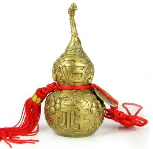 Chinese New Copper gourd pendant small decorative arts and crafts